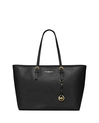 Jet Set Travel Medium Saffiano Tote Bag, Black