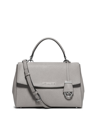 Ava Medium Leather Satchel Bag, Pearl Gray