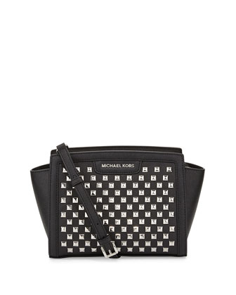 Selma Pyramid-Stud Medium Messenger Bag, Black