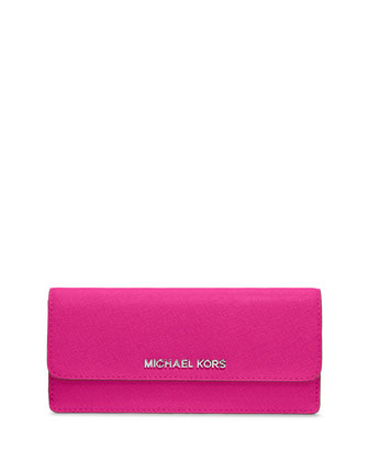 Jet Set Travel Saffiano Flat Wallet, Raspberry