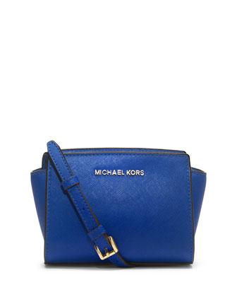 Selma Mini Saffiano Messenger Bag, Electric Blue