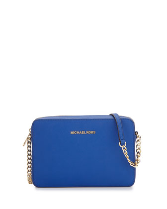 Jet Set Travel Saffiano Crossbody Bag, Electric Blue