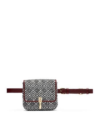 Cynnie Woven Belt Bag, Black/White