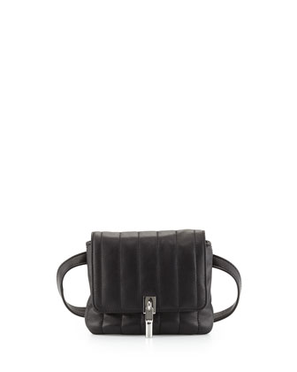 Cynnie Lambskin Belt Bag, Black