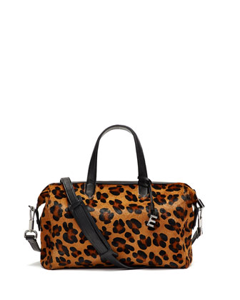 Scott Animal-Print Calf Hair Duffel Bag, Cognac/Black