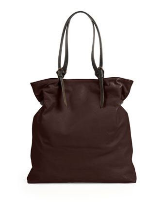 Calfskin Belted-Strap Tote Bag, Chocolate