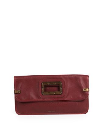 Granada Fold-Over Clutch Bag, Maroon