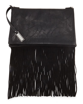 Faux-Leather Fringe Clutch Bag, Black