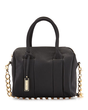 Stevie Faux-Leather Satchel Bag, Black