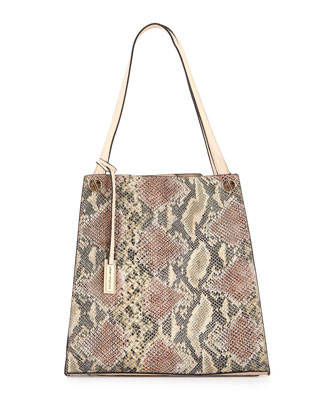 Wonder Snake-Embossed Faux-Leather Tote Bag, Beige