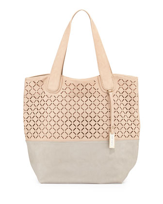 Coogee Perforated Colorblock Tote Bag, Nude/Stone
