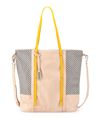 Afterglow Colorblock Tote Bag, Nude/Yellow/Gray