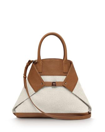 Ai Medium Canvas Messenger Bag, Cuoio