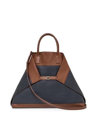 Ai Large Bicolor Messenger Bag, Caramel/Denim