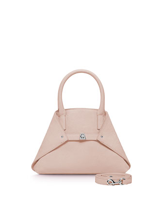 Ai Mini Cervo Leather Messenger Bag, Pale Rose