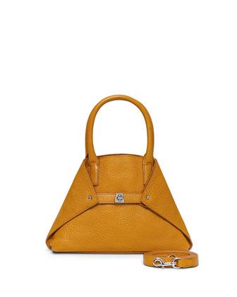 Ai Mini Cervo Leather Messenger Bag, Amber