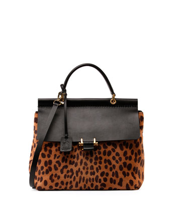 Leopard Calf Hair Flap Bag, Black/Natural