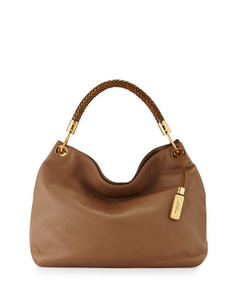 Large Skorpios Grained Shoulder Bag, Desert