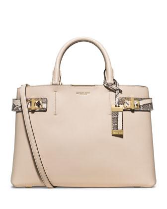 Bette Large Satchel Bag, Vanilla