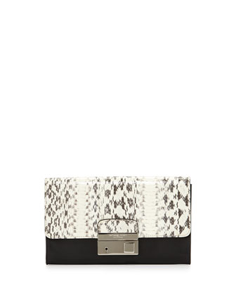 Gia Snakeskin Clutch Bag, Black