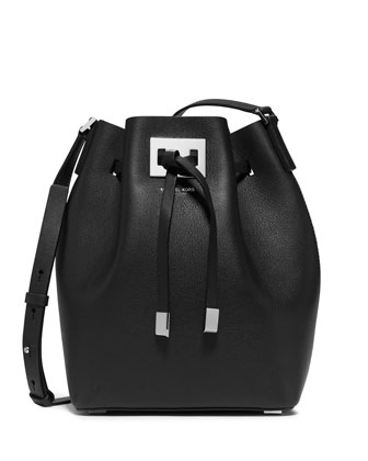 Miranda Medium Drawstring Bucket Bag, Black/Cobalt