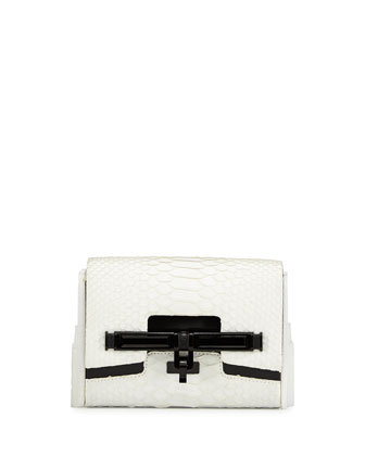 Lux Mini Matte Python Clutch Bag, White/Black