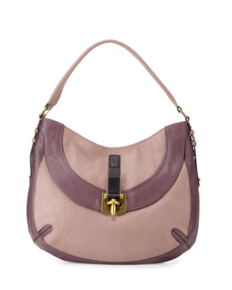 Bessie Colorblock Leather Hobo Bag, Mushroom/Multi