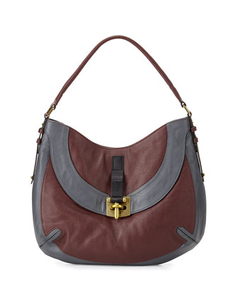 Bessie Colorblock Leather Hobo Bag, Espresso/Multi