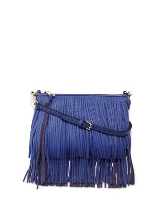 Finn Leather Fringe Clutch Bag, Ultraviolet