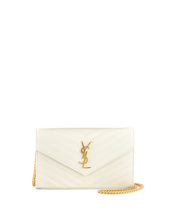 Monogram Matelasse Wallet-on-a-Chain, Blanc