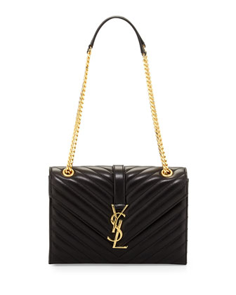 Monogram Matelasse Shoulder Bag, Nero