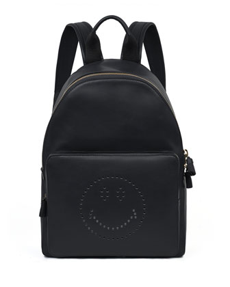 Smiley Leather Backpack, Black