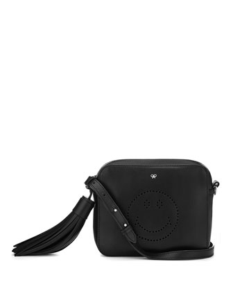 Smiley Calfskin Crossbody Bag, Black
