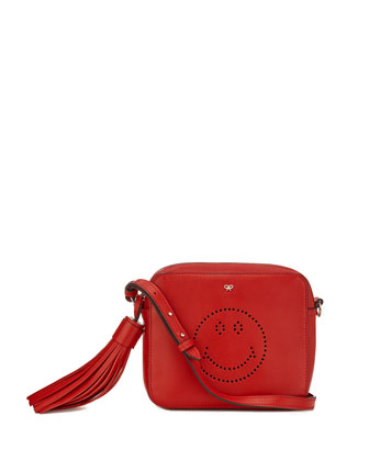 Smiley Calfskin Crossbody Bag, Dark Orange