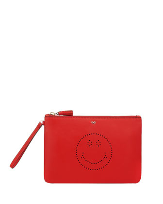 Smiley Zip-Top Wristlet Bag, Dark Orange