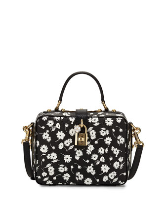 Rosaria Floral-Print Zip-Around Shoulder Bag, Black/White