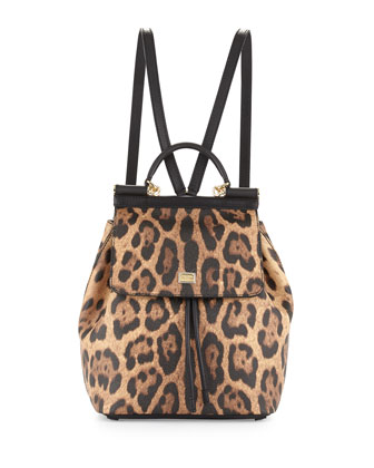Miss Sicily Leopard-Print Backpack