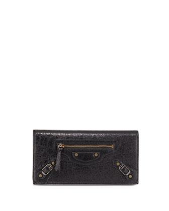 Classic Money Lambskin Wallet, Black