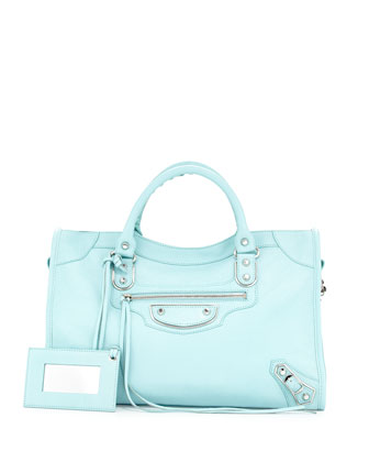Metallic Edge City Bag, Blue