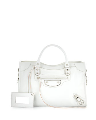 Metallic Edge Mini City Bag, White
