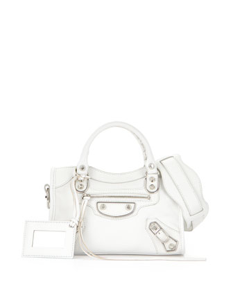 Metallic Edge City Mini Bag, White