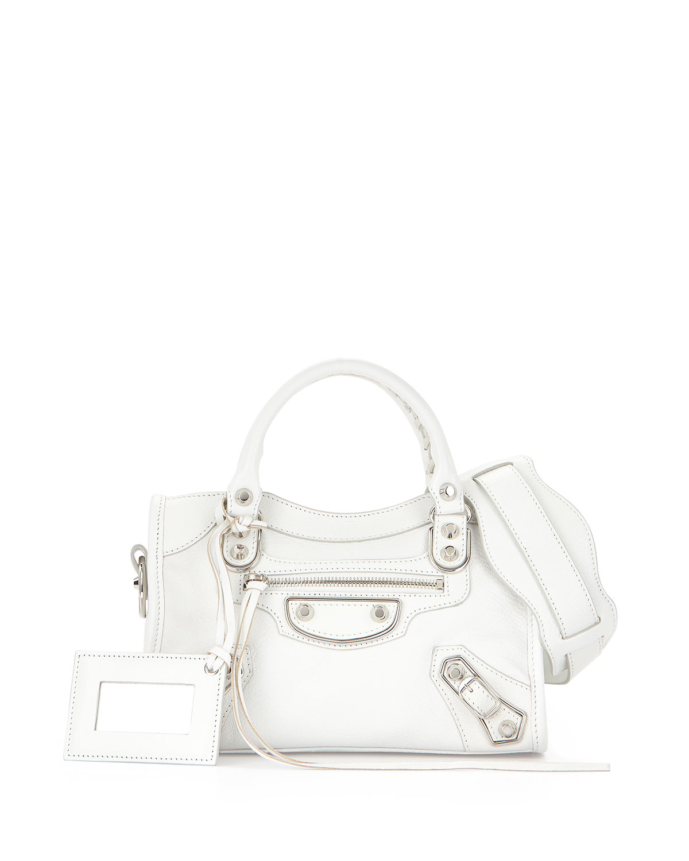 Metallic Edge City Mini Bag, White - Balenciaga