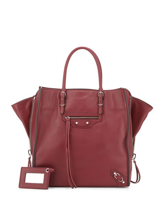 Papier A5 Zip Around Tote Bag, Dark Red