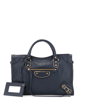 Metallic Edge City Bag, Dark Blue