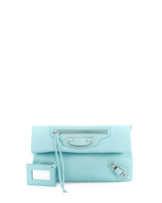 Metallic Edge Envelope Crossbody Bag, Blue