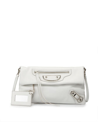 Metallic Edge Envelope Crossbody Bag, White