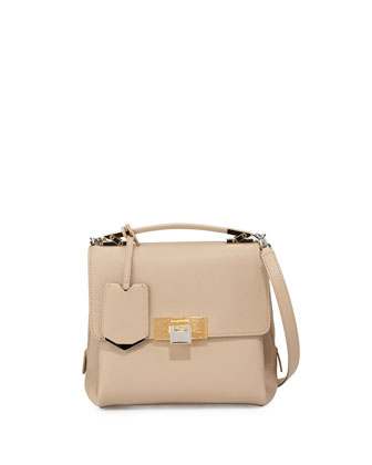 Le Dix Mini Soft Pebbled Satchel Bag, Beige