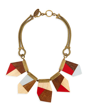 Mixed-Direction Chevron Dress & Colorblock Wooden Necklace