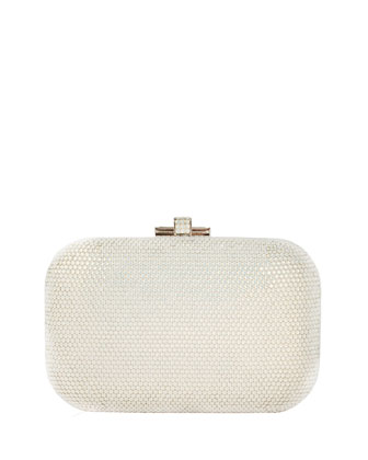 Crystal Slide-Lock Clutch Bag, Silver White Opal