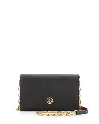 Robinson Saffiano Wallet-on-a-Chain, Black